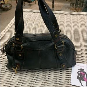 Two Tone Fossil Leather Satchel